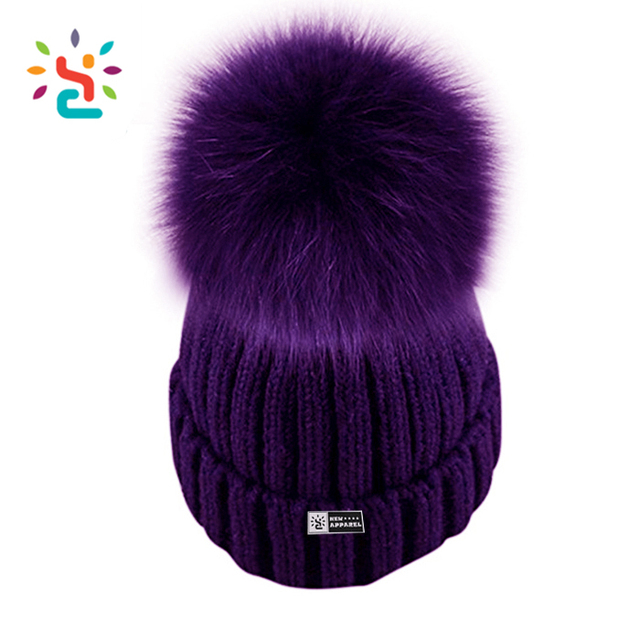 Custom the purple pom beanie hats women winter wholesale polyester knitted pom pom slouchy cap fur biggest ball beanies hat