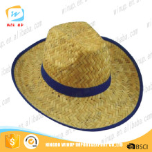 Winup fashion design bulk handwoven cheap straw cowboy hats feather hat