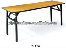 pvc folding wooden cheap rectangle table iron folding legs table YT12A