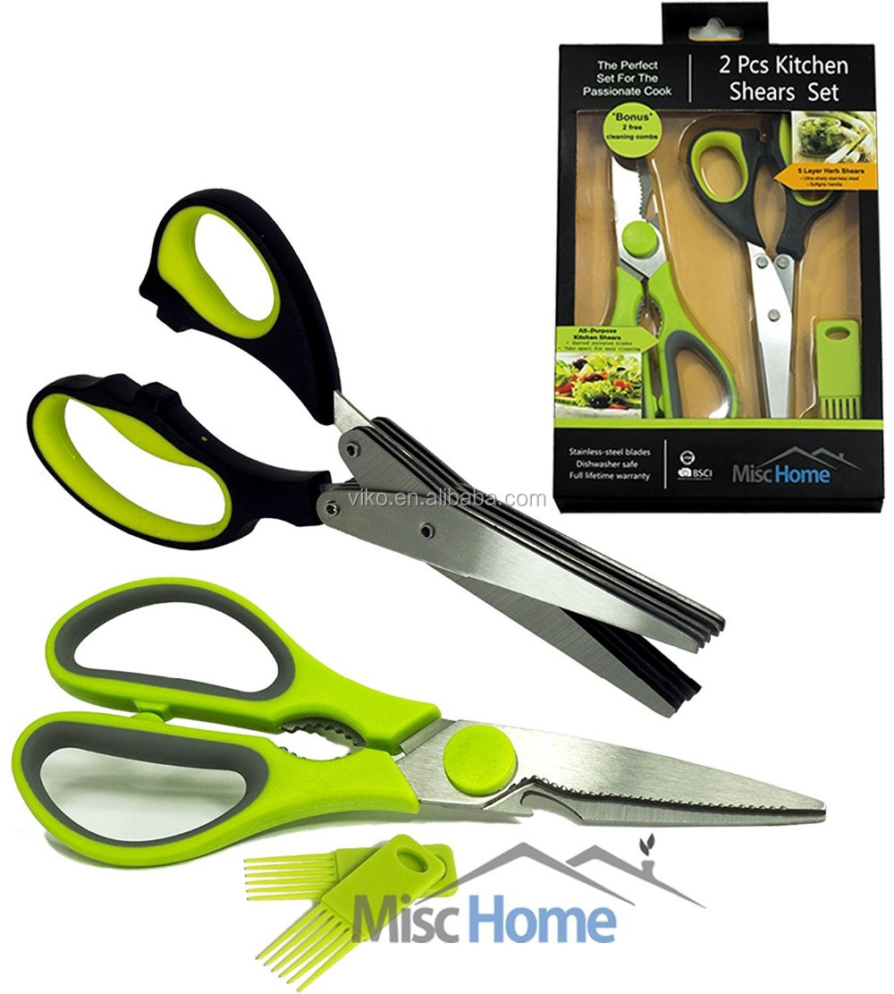2 Pcs Heavy Duty Kitchen Shears U0026 Gourmet Herb Scissors With 2 Bonus Blade  Combs Multi