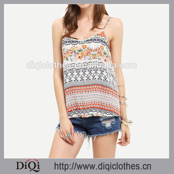 2016 WOMEN FASHION Spaghetti Strap TANK TOPS ; Multicolor Print Vintage TANK TOP