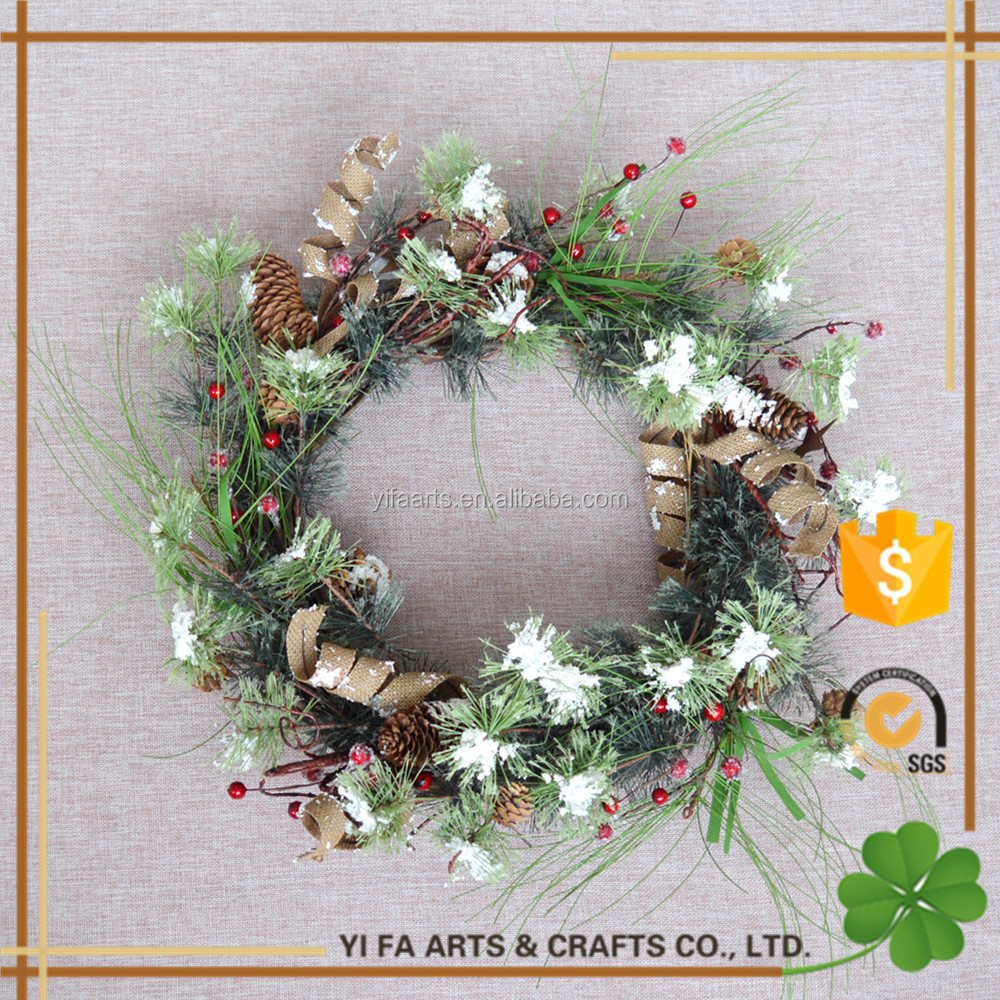"20"" wholesale artificial christmas wreaths With Burlap Roll,Pinecone"