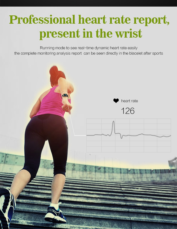 E08 0.96 inch OLED screen IP67 waterproof Dynamic heart rate detection share trajectory sport wristband