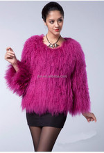 genuine Mongolian Lamb Fur Bolero Jacket Women Winter Warm Fur Coat