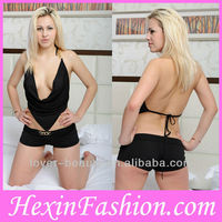 Sexy Hot Black Open Bust Top and Panty Wholesale Lingerie