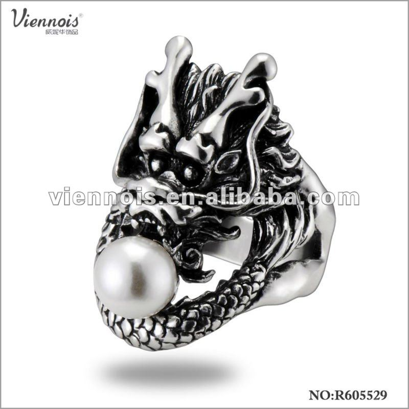 Fashion Antique Dragon Shaped Ring With Pearl