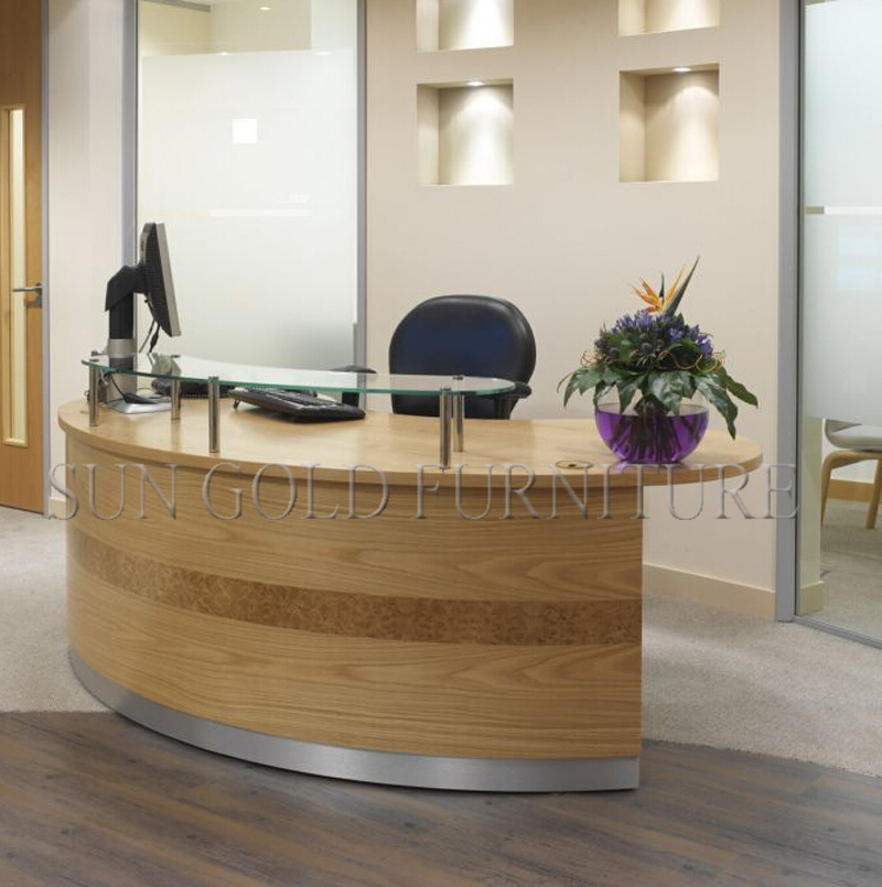Office Supplies Wholesale Modern Curved Wood Reception