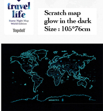 Groothandel Glow In The Dark Wereldkaart Lichtgevende Art Travel Map Starlight Kras Wereldkaart