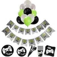 Yot Video Game Theme Happy Birthday Banner, Plates Spoons Knives Forks Tissue Balloons Set, Baby Shower Boy Party Decorations