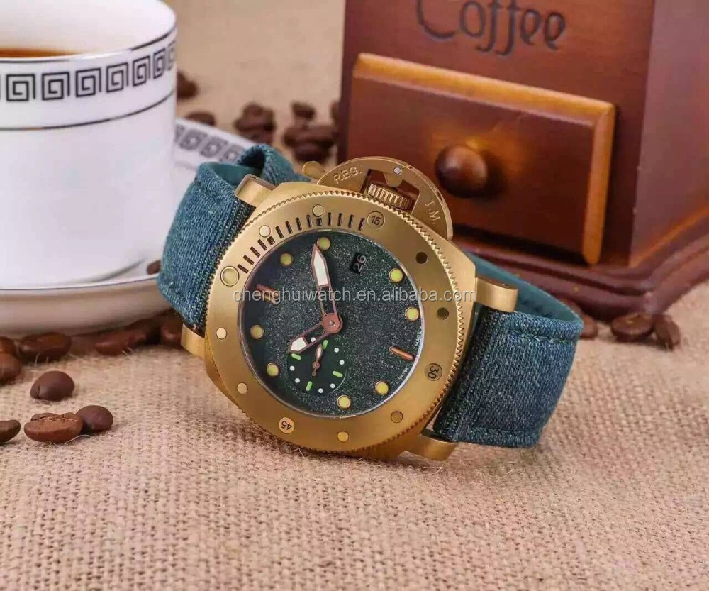 Itlay fashion style men cool leather strap big size automatic watches green dial and strap watches