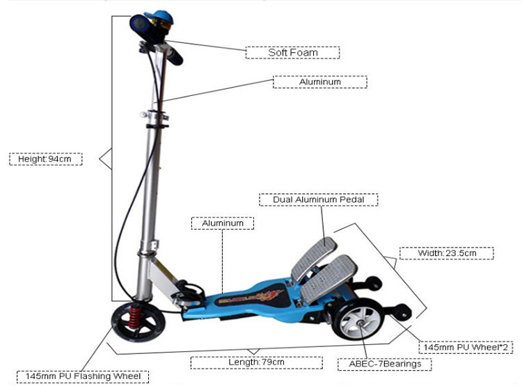 Two Footed Double Pedal Foot Pedal Kick Scooter