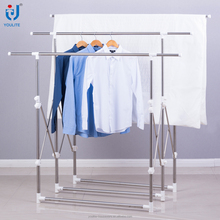 Extendable multi-bar balcony standing clothes hanger