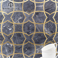 custome free design interior wall decoration gray natural marble waterjet tiles mosaic