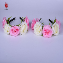 Fascinator five large size rose flower hair band for wedding design