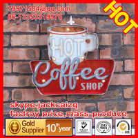 Wall metal plate,Vintage LED coffee tin sign,metal craft wholesale