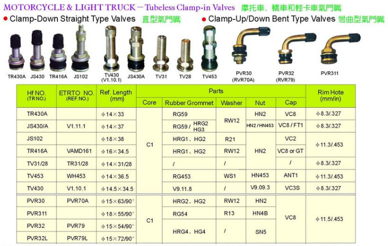Tire valve -Clamp-in tubeless valves