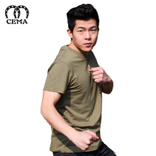 Latest style customized fine cotton plain green army t-shirt
