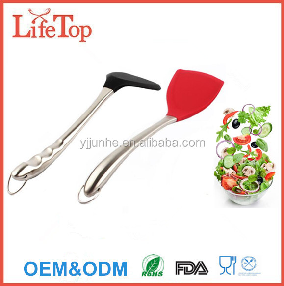 Heat Resistant Large Stainless Steel Handle Silicone Turner Egg Turner