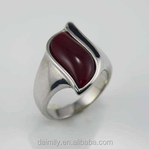 Popular wholesale rings fashion vintage gothic big stone ring made in China Stainless steel ring