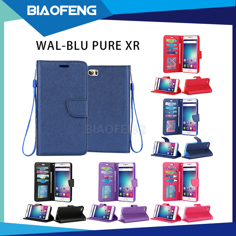 Wallet Style PU Leather Cell Phone Case With Card Slot For BLU Pure XR