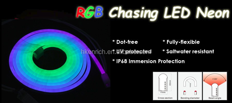 Ultra bright chasing led neon light RGB color