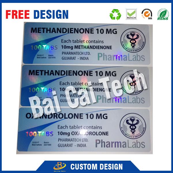 Free sample custom made adhesive 10ml pharmaceutical vial labels for steroids made in china with low price