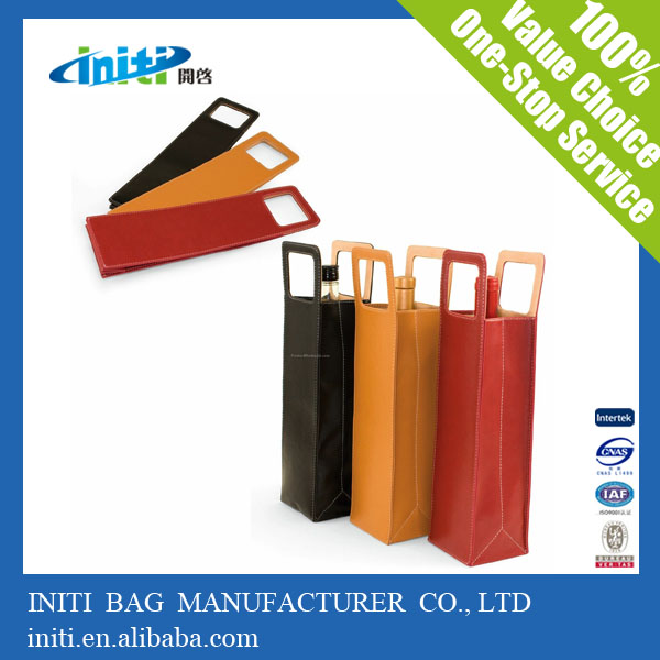 All Color Promotional Excellent Quality Leather Wine Bag Carrier