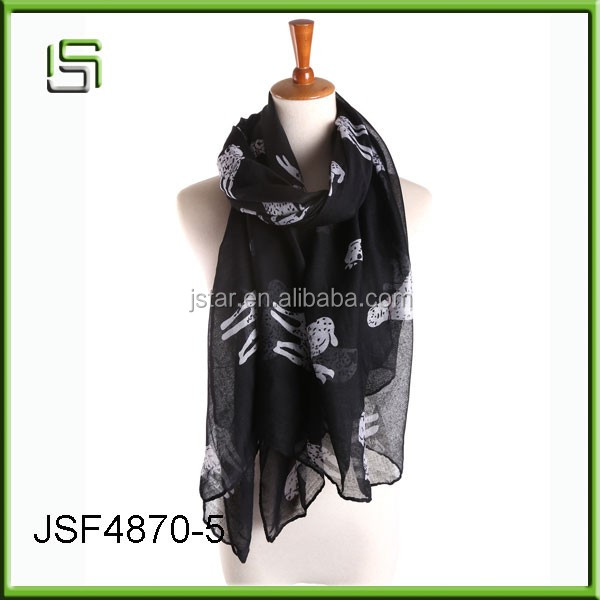 2017 Women's fashionable animal pattern Dot dog pattern Paris yarn scarf wholesale
