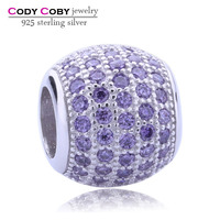 Genuine 925 Sterling Silver Spacer Beads Pave Purple Small Round Crystal Charms For DIY Making European Jewelry Wholesale