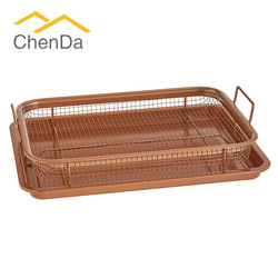 Crisper Tray Non Stick Cookie Sheet Tray And Air Fry Mesh Basket Set, Transform Your Oven Into Oil Free Air Fryer CD-S1040