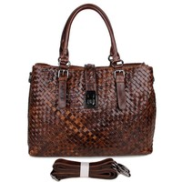 Woven Vintage Leather Coffee Trend Shoulder Bag Custom-made 2015 Handbag For Women