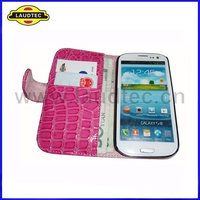 Croco Design Leather Wallet Case for Samsung Galaxy S3 i9300, Flip Mobile Phone Covers, Laudtec