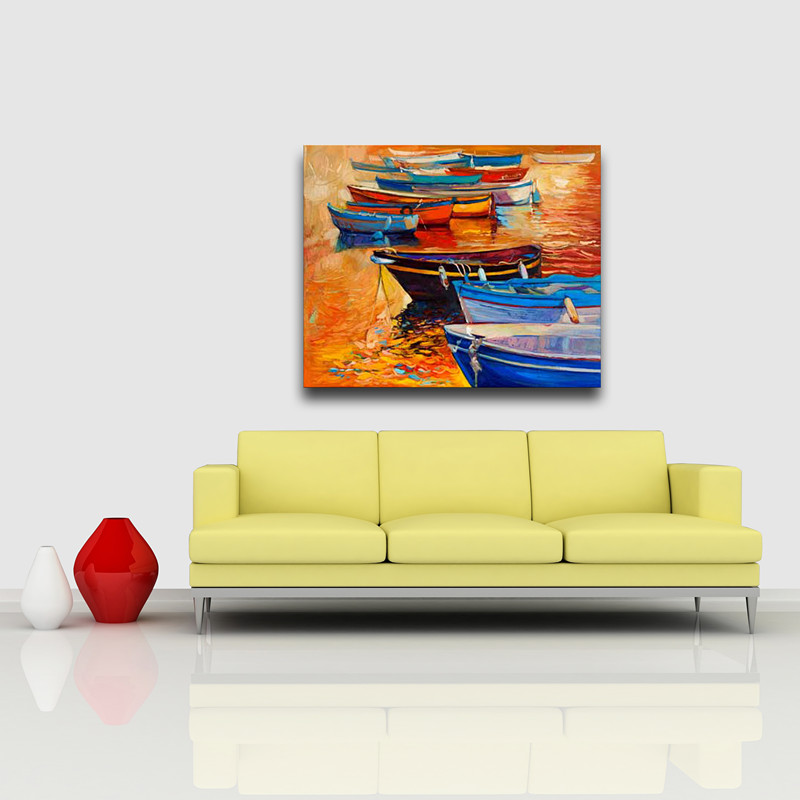 Home decoate boat on sea watercolor canvas photo art printing painting