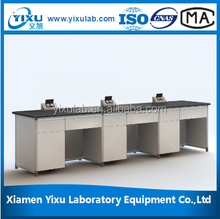 C-frame/ H-framephysical, chemical or biology lab full steel or steel wood side bench or wall bench for school or hospital