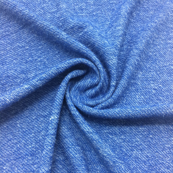 Blue new product twill cotton knitted fabric texile thick needle fabric