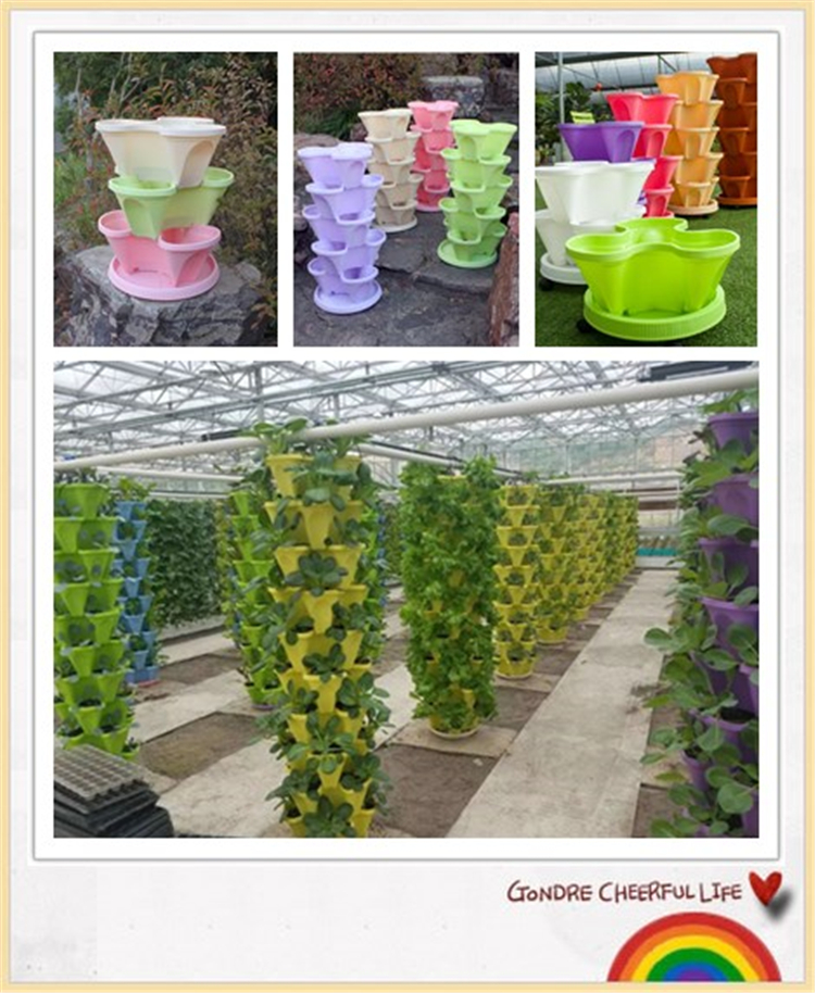 Petal fold type vertical garden plastic strawberry pots and planters