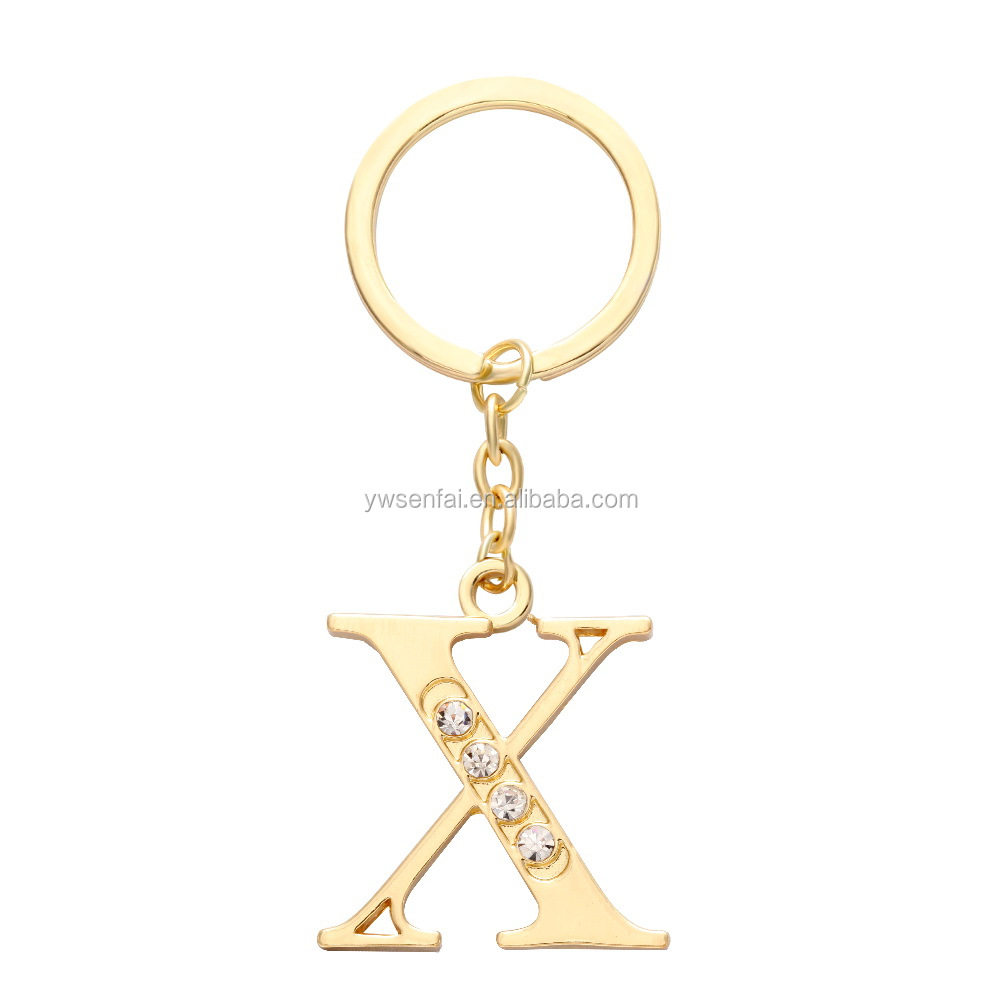 Gold Color Letter X Keychain with Rhinestones