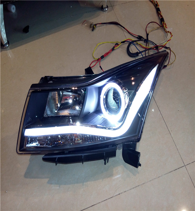 VLAND factory for car Head Light for Cruze for 2010-2014 angel eyes led head lamp cruze bixenon projector headlight