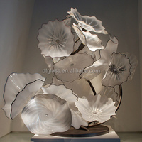 Large Murano Blown Glass Art Lotus