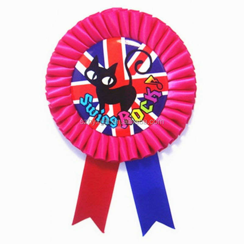 Beautiful black cat picture handmade rosette ribbon for promotion