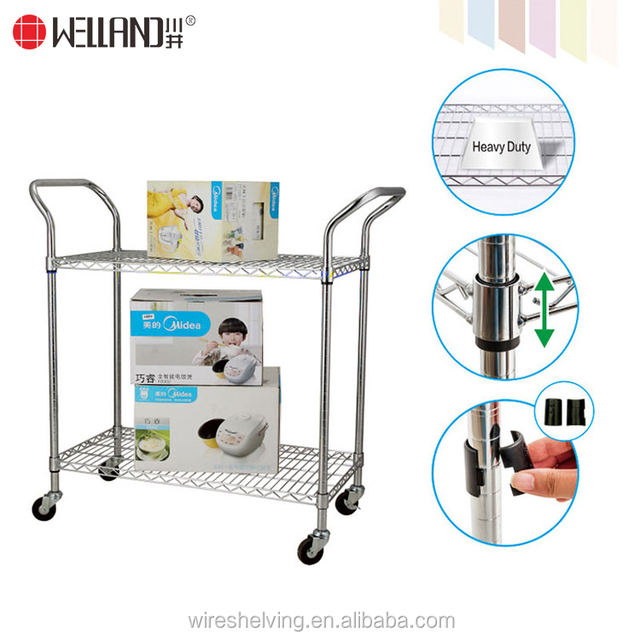 High quality movable DIY 2 tiers chrome hand pull wire shopping rack trolley