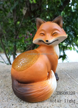 Polyresin fox with LED Light Figurine for Garden Decoration