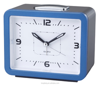 Blue or Red Bell Beep Square Quartz analog Alarm Clock for elderly