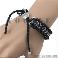 OEM Customized Metal Clasps Articulated Woven Leather String Bracelet