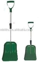 Telescopic plastic snow shovel with aluminum handle