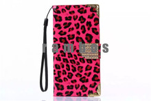 Colorful Bling Bling Rhinestone Zoo Leopard Flip Leather Wallet Cover Case with Card Holder for HTC One M9
