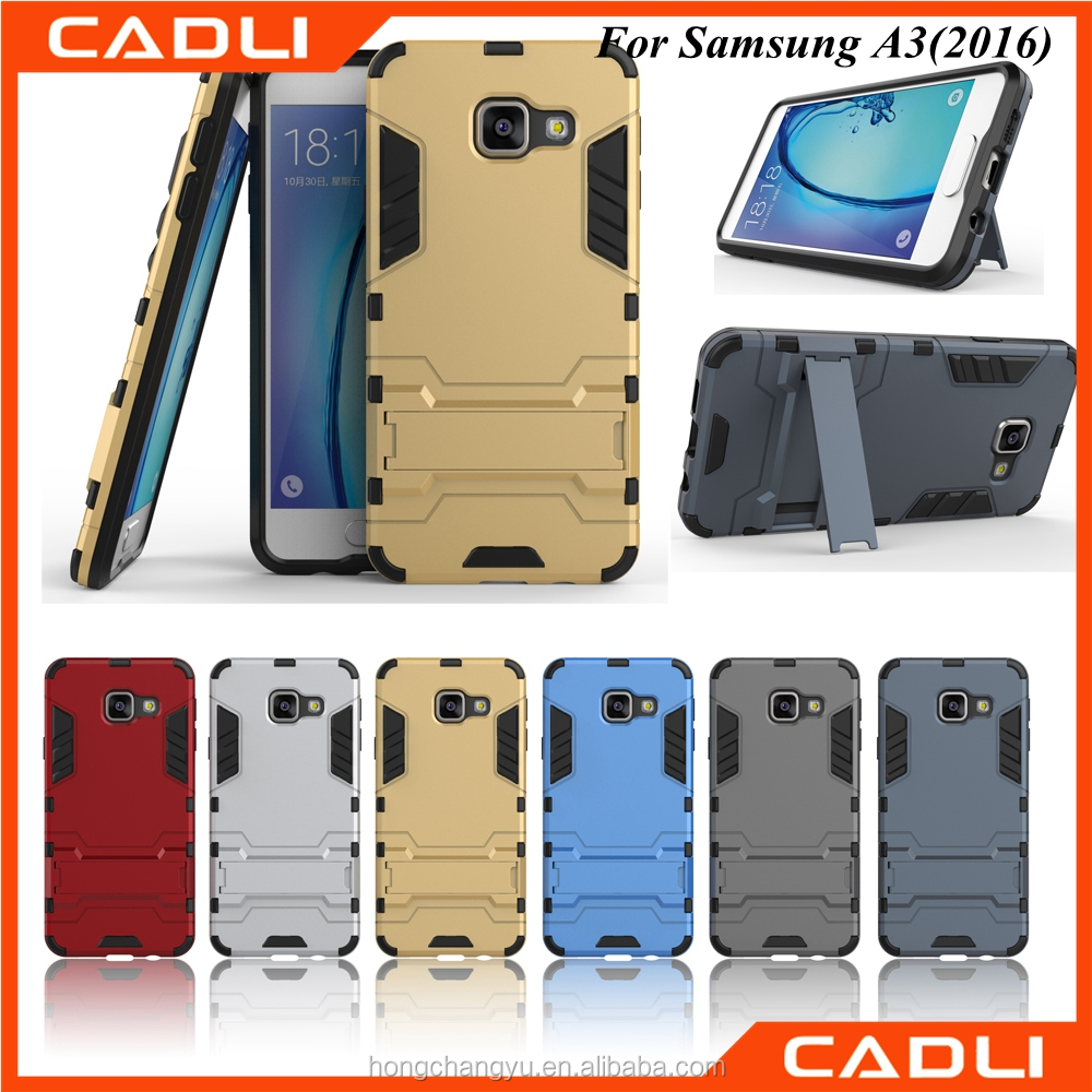 2016 Shockproof 3 in 1 armor cell phone case with stand for samsung A3 2016