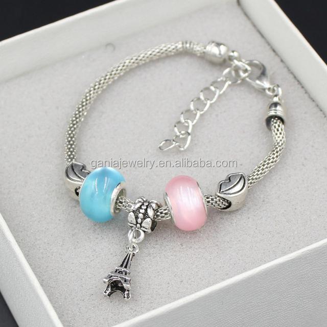 Fashion Cheap Promotion Bracelet, European Lips Bead Style Eiffel Tower Charm Bracelets for Cosmetic Promotion Gift
