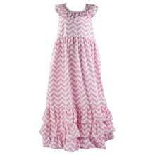 2017 new designgirls cotton pink stripe ruffle evening dress summer clothes wholesale baby girl chevron maxi dress