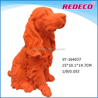 Decorative indoor polyresin sitting dog statue with flocking